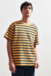 Urban Outfitters Uo Loop Front Terry Stripe Dad Tee Bright Yellow