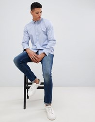 French Connection Oxford Button Down Logo Shirt Sky Blue
