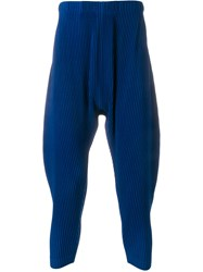 Homme Plisse Issey Miyake Pleated Trousers Blue