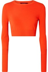 Sies Marjan Gwin Cropped Stretch Knit Sweater Bright Orange