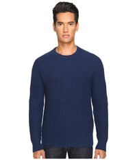 Jack Spade Shaker Stitch Ribbed Crew Neck Sweater Dark Blue