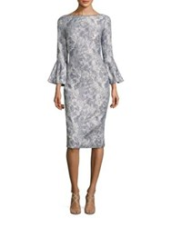 Theia Metallic Jacquard Bell Sleeve Dress Silver
