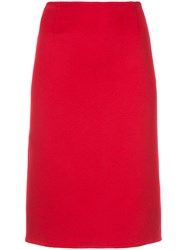 Ralph Lauren Collection Fitted Midi Skirt Cashmere Red