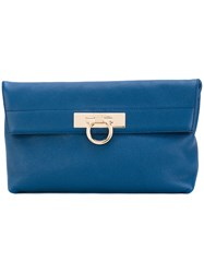 Salvatore Ferragamo Gancio Clutch Bag Women Calf Leather Polyester One Size Blue