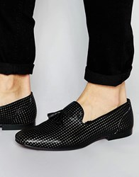 Asos Tassel Loafers In Black Suede With Gold Perforation Black