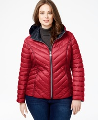 Nautica Plus Size Reversible Packable Puffer Coat Red Marine