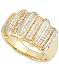 Macy's Diamond Multi Row Ring 1 2 Ct. T.W. In 14K Gold Plated Sterling Silver