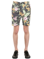 Globe Floral Cotton Shorts Black Green