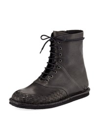 Bottega Veneta San Crispino Intrecciato Lace Up Boot Dark Gray
