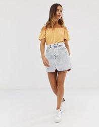 Bershka Acid Wash Skirt In Blue Blue