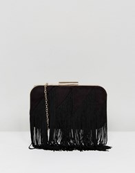 Lavand Fringe Structured Clutch Bag Black