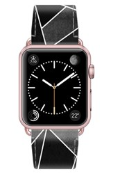 Casetify Saffiano Faux Leather Apple Watch Strap Black Geometric