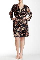 Single Dress Printed Faux Wrap Dress Plus Size Black
