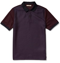 Burberry Panelled Jacquard And Cotton Pique Polo Shirt Burgundy