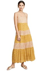 Madewell Tiered Tie Back Midi Dress Indigo Floral Golden Meadow