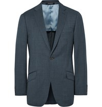 Richard James Blue Slim Fit Pin Dot Super 110S Wool Suit Jacket Petrol