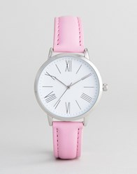 Asos Design Pink Leather Watch