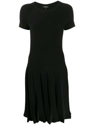 Theory Pleated Short Sleeved Dress Black