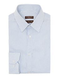 Corsivo Apollo Fine Stripe Italian Cotton Shirt Blue