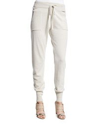 Donna Karan Cashmere Jogger Pants Natural Women's