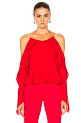 Rosetta Getty Silk Double Georgette Off The Shoulder Camisole In Red Brown Red Brown