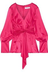 Prabal Gurung Woman Knotted Pleated Silk Satin Blouse Pink