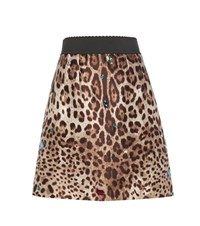 Dolce And Gabbana Embellished Silk Wool Skirt Brown