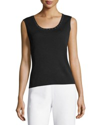 Ming Wang Studded Trim Knit Tank Black