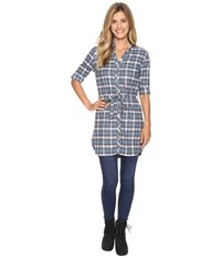 Fig Clothing Yan Tunic Plaid Zodiac Women's Blouse Blue