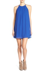 Junior Women's Lush Pleat Detail Chiffon Trapeze Dress Cobalt