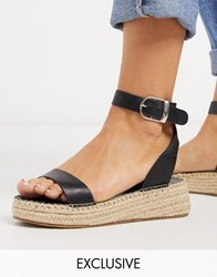 South Beach Two Part Espadrilles In Black