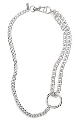 Topshop Chain Loop Necklace Silver