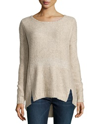Line Marbled Knit Back Zip Tunic Sweater Oatmeal