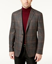Tallia Men's Slim Fit Charcoal And Burgundy Plaid Soft Constructed Sport Coat