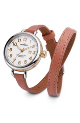 Shinola 'The Birdy' Double Wrap Leather Strap Watch 34Mm White Orchid