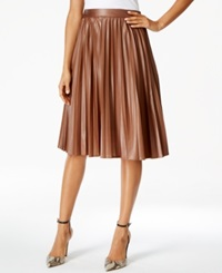 Grace Elements Faux Leather Pleated Skirt Toasted Coconut Brown