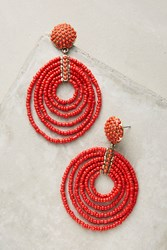 Anthropologie Pinata Beaded Hoop Earrings Bright Red