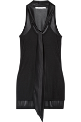 Givenchy Ribbed Jersey Tank With Silk Satin Neck Tie