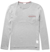 Thom Browne Slim Fit Cotton Jersey T Shirt Gray
