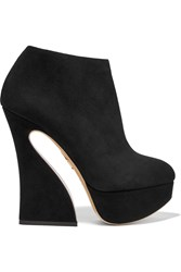 Charlotte Olympia Millie Suede Platform Ankle Boots Black