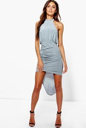 Boohoo High Neck Rouched Slinky Bodycon Dress Grey