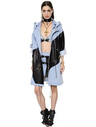 Fausto Puglisi Hooded Cotton Denim And Leather Coat