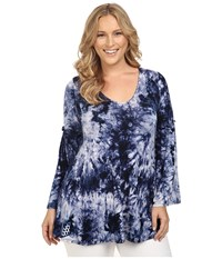 Christin Michaels Plus Size Edrielle Bell Sleeve Top Navy Tie Dye Women's Clothing