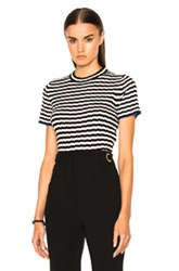 Proenza Schouler Silk Cashmere Irregular Stripe Cropped In Black Stripes Black Stripes
