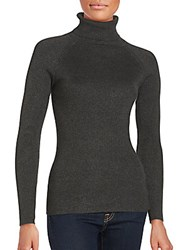 Saks Fifth Avenue Black Solid Long Sleeve Turtleneck Sweater Black
