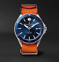Baume And Mercier Clifton Club Automatic 42Mm Stainless Steel Rubber Nato Watch Orange