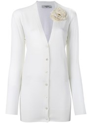 Lanvin Flower Brooch V Neck Cardigan White