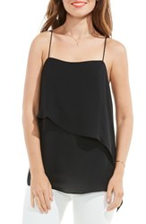Vince Camuto Women's Asymmetrical Overlay Camisole Rich Black
