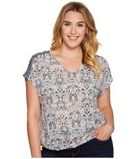 Lucky Brand Plus Size V Neck Peasant Top Multi Women's Short Sleeve Pullover