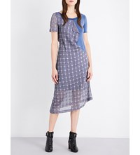 Aalto Checked Stretch Knit And Jersey Midi Dress Ajoure Check